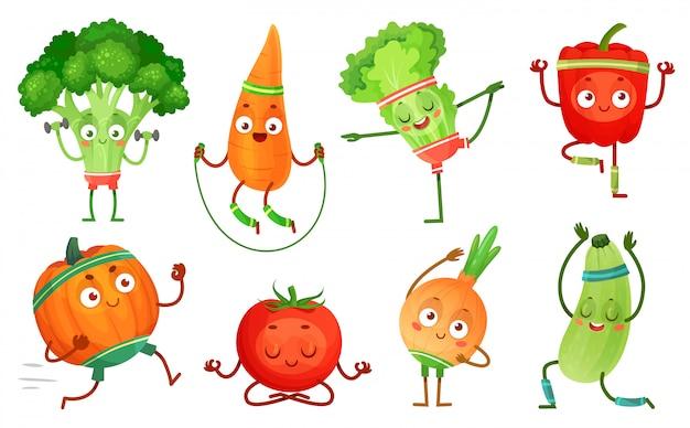 Cartoon groenten fitness. plantaardige karakters training, gezonde yoga oefeningen eten en sport groenten illustratie set