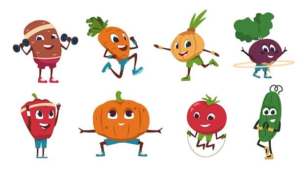 Cartoon groenten oefeningen. gezonde voedingspersonages die fitnessactiviteiten en sporttraining doen