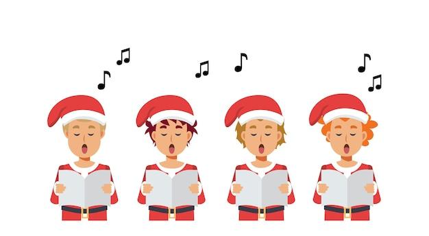 Cartoon groep jongens zingen kerstliederen. vrolijk kerstfeest.