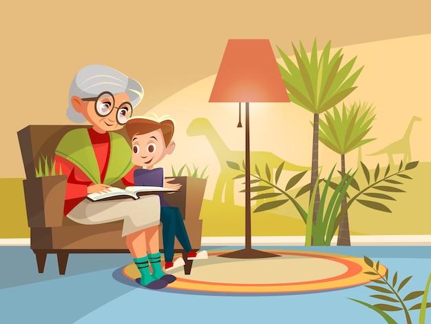 Cartoon grootmoeder leesboek jongen leunstoel zittend.