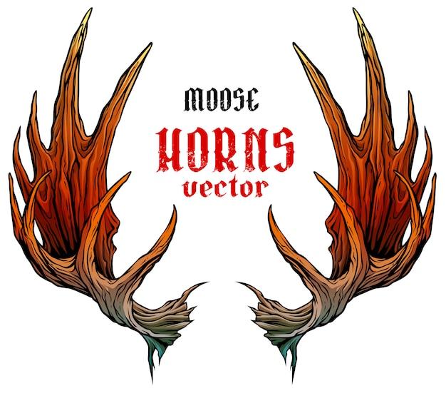 Cartoon grote eland hoorns of gewei vector
