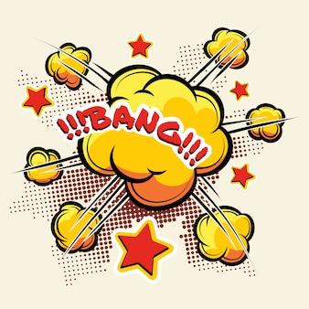 Cartoon grote explosie voor stripboeken. wolk explosie oranje. vector illustratie