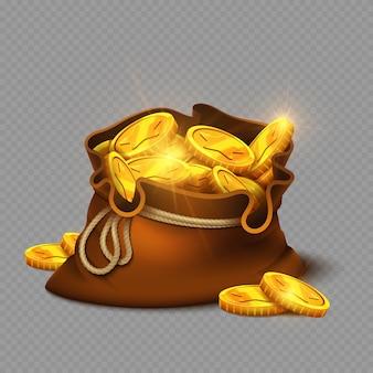 Cartoon grote oude tas met gouden munten geïsoleerd