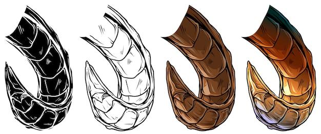 Cartoon grote scherpe daemon hoorns vector set