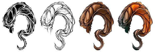 Cartoon grote scherpe geit hoorns vector set