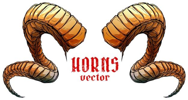 Cartoon grote scherpe spiraalvormige dierlijke hoorns vector