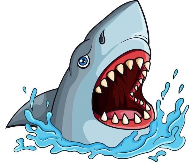 Cartoon haai met open kaken