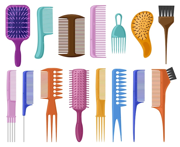 Cartoon haarborstels. haarverzorging plastic kammen, modieuze haarstyling borstel illustratie set