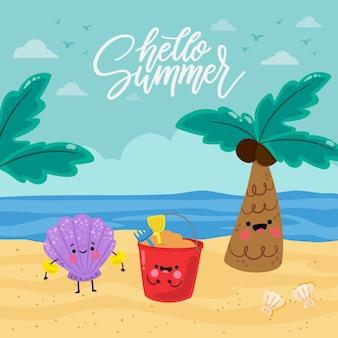Cartoon hallo zomer illustratie