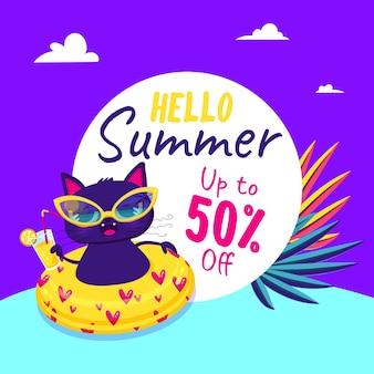 Cartoon hallo zomer verkoop illustratie