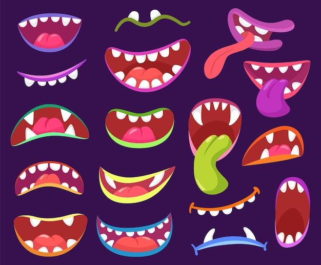 Cartoon halloween enge monster monden met tanden en tong hoektanden vector set