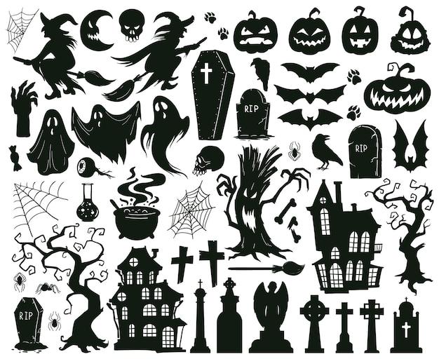Cartoon halloween griezelig kwaad silhouetten heksen monsters en griezelig spook vector illustratie set