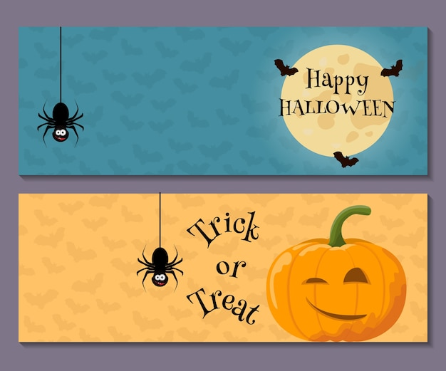 Cartoon halloween horizontale banner set