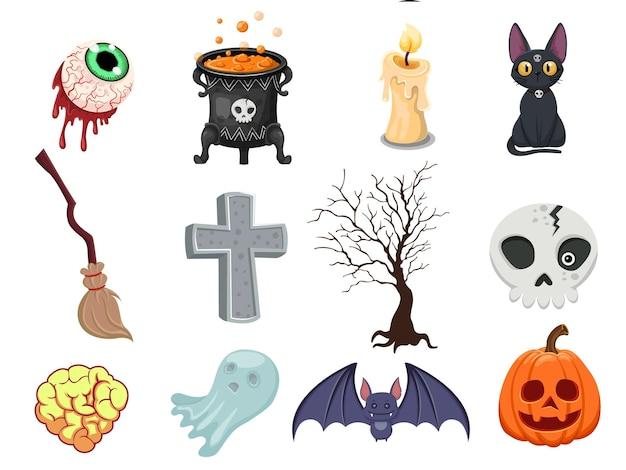 Cartoon halloween pictogrammenset vector. pompoen, spook, hersenen, vleermuis, schedel, grafsteen, boom, kaars, bezem, oogbol, kat, heksenketel. vector illustratie
