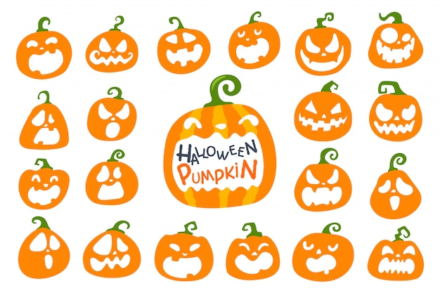 Cartoon halloween pompoen. de schaduw van de pompoen sneed een spookgezicht op halloween.