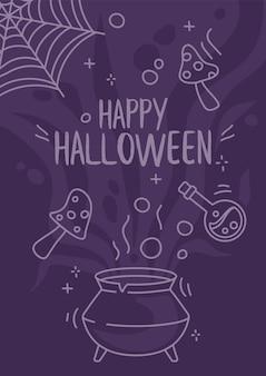 Cartoon halloween poster ontwerpt pot met vliegpaddestoelen en agaric in doodle-stijl