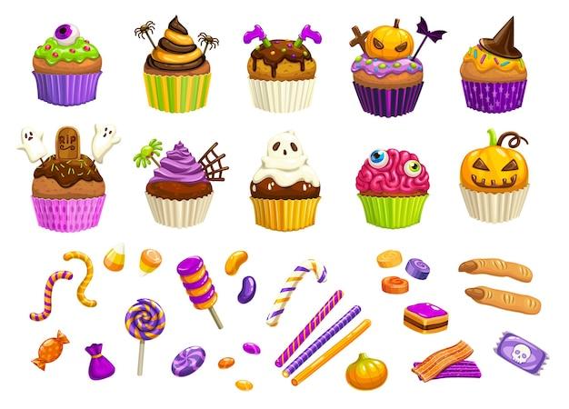 Cartoon halloween-snoepjes, cupcakes, heksenvingers