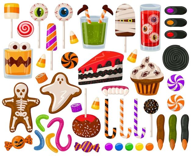 Cartoon halloween snoepjes griezelig snoep chocolade snoep eng lolly's vector illustratie set