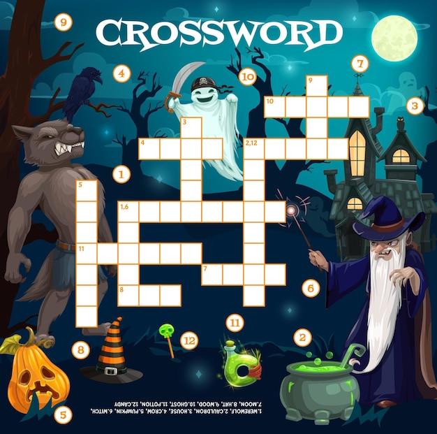 Cartoon halloween-tekens kruiswoordraadsel quiz