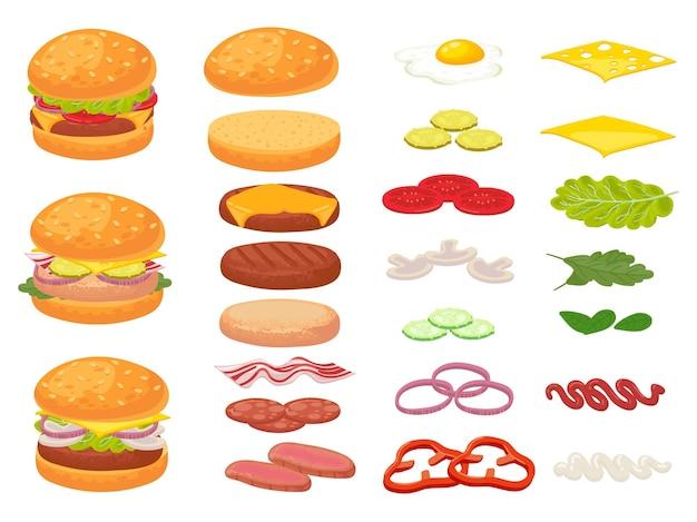 Cartoon hamburger ingrediënten. hamburger, hakbroodje en tomaat.