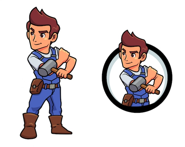 Cartoon hammer guy mascotte