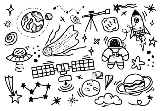Cartoon hand getekend ruimtepak.