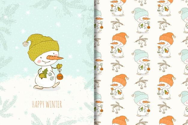 Cartoon hand getekend sneeuwpop met kerst elementen kaart en naadloze patroon