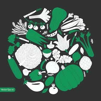 Cartoon hand getekende groenten