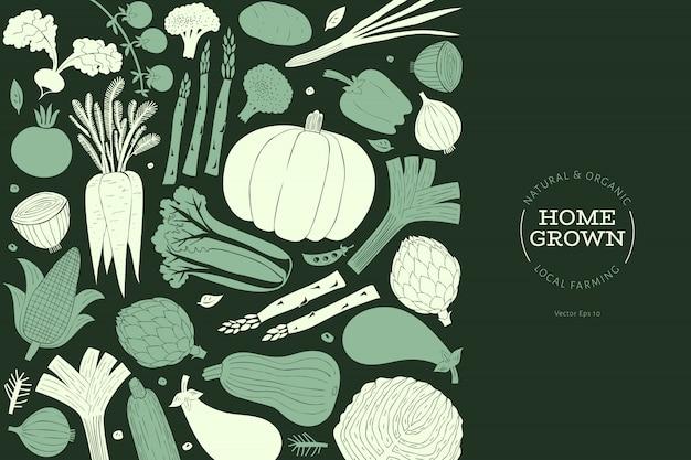 Cartoon hand getrokken groenten ontwerpsjabloon