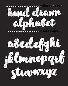 Cartoon hand getrokken lettertypen schoolbord alfabet belettering