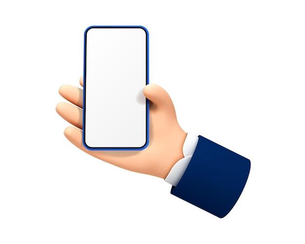Cartoon hand met smartphone geïsoleerd op een witte achtergrond. vector illustratie