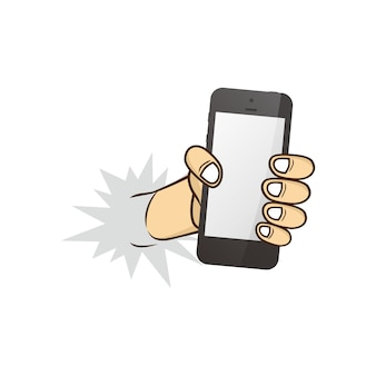 Cartoon hand met telefoon