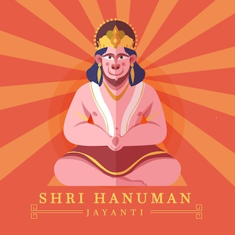 Cartoon hanuman jayanti illustratie