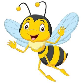 Cartoon happy bee geïsoleerd op een witte achtergrond