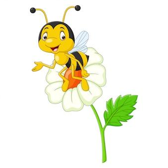 Cartoon happy bee met een bloem