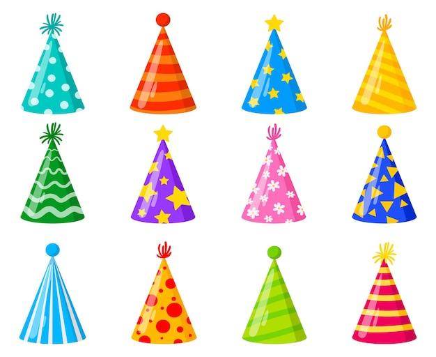 Cartoon happy birthday party viering kegel ingericht hoeden. verjaardagsfeestje grappige kleurrijke hoeden vector illustratie set. papieren kegelhoeden voor carnavalsvakantie