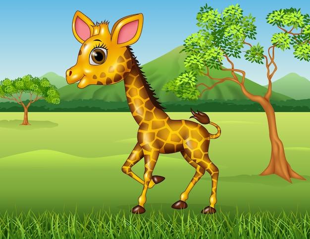 Cartoon happy giraffe in de jungle