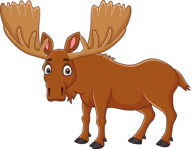 Cartoon happy moose met grote hoorns