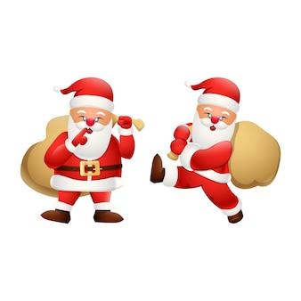 Cartoon happy santa claus met een tas