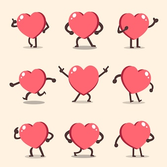 Cartoon hart karakter vormt set