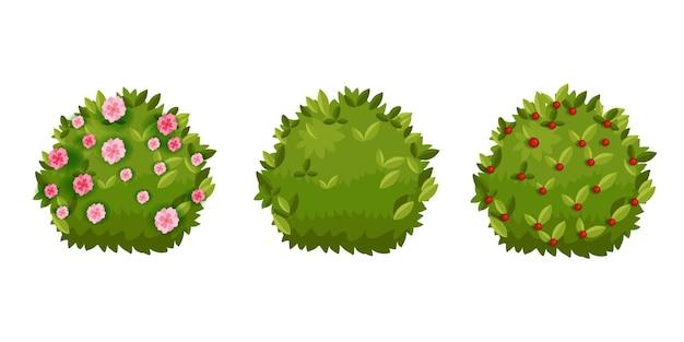 Cartoon hedge set met groene bladeren