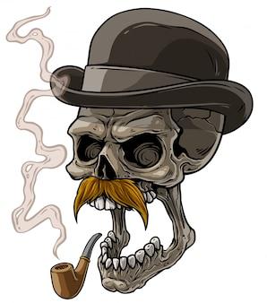 Cartoon heer schedel met zwarte hoed en pijp
