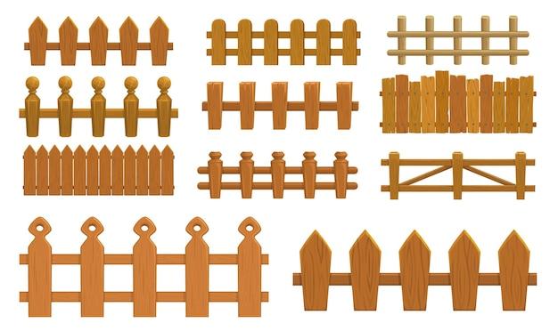 Cartoon hek, houten palissade boerderij poorten of balustrade met piketten.