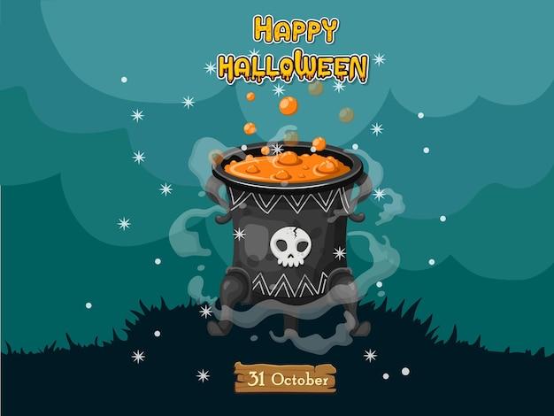 Cartoon heksen ketel. concept cartoon halloween elementen van magie, hekserij, kokende drankjes. vector clipart illustratie geïsoleerd op gekleurde achtergrond