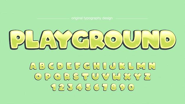 Cartoon helder groen artistieke lettertype