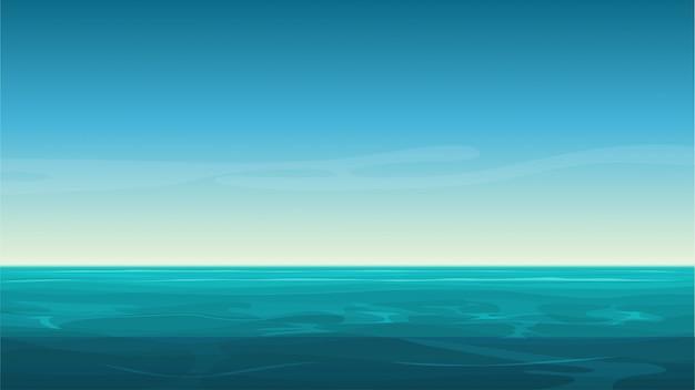 Cartoon heldere oceaan zee achtergrond met lege blauwe hemel.