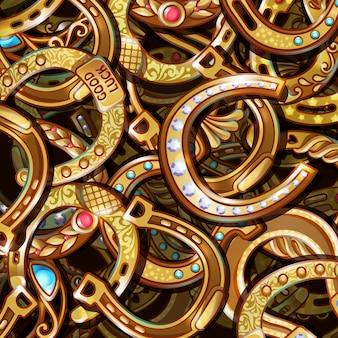 Cartoon heldere sierlijke gouden hoefijzers patroon