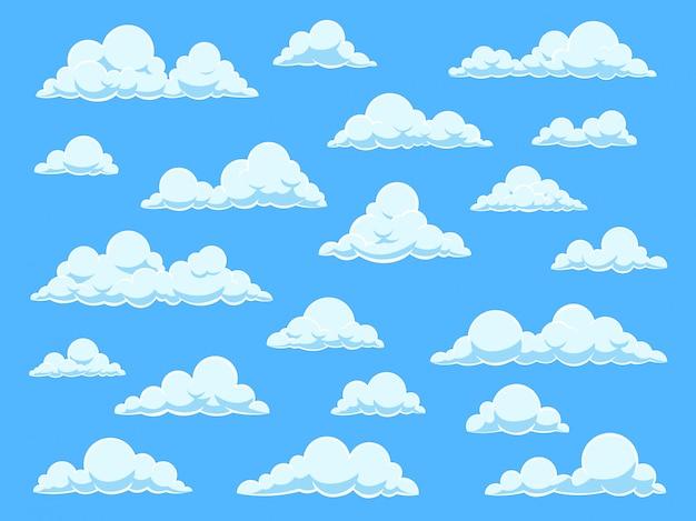 Cartoon hemel wolken. cloudscape in blauwe hemelpanorama, verschillende vormen van witte wolken, ingesteld voor schattige babybehang