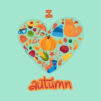 Cartoon herfst belettering met herfst symbolen op wit ik hou van herfst hallo herfst poster sjabloon