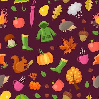 Cartoon herfst elementen en bladeren patroon